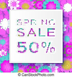 Origami Pink Spring Sale Flowers Banner. Paper cut Floral card. Spring blossom. Happy Womens Day. 8 March. Text. Seasonal holiday.Trendy decor. Spring Sale Poster, Flyer, voucher discount.