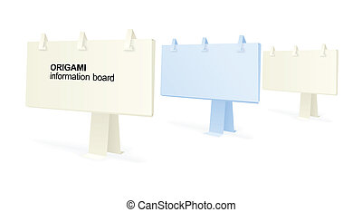 origami, placas, informação