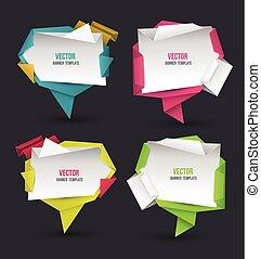 origami, résumé, moderne, parole, ensemble