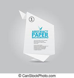origami, résumé, papier, fond blanc