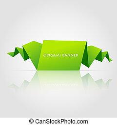origami, résumé, parole, vert, bulle