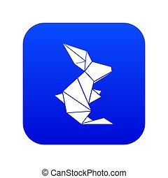 Origami rabbit icon blue