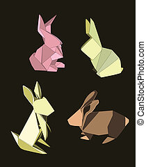 Set of four origami rabbits in different poses. Colors can be edited easily.