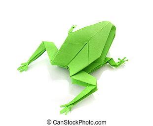 origami, rana, verde