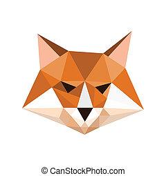 origami, raposa, retrato