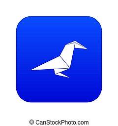 Origami raven icon blue