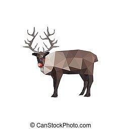 origami, renne, nez, illustration, rouges
