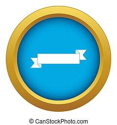 Origami ribbon icon blue isolated