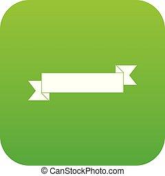 Origami ribbon icon digital green