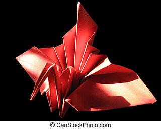 origami grue noir isol jaune figure art faire japonaise traditionnel papier origami. Black Bedroom Furniture Sets. Home Design Ideas