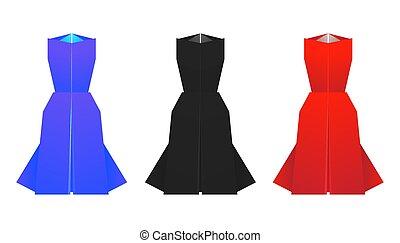 origami, sæt, farvet, dresses.