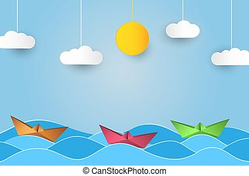 Origami sailing boat in waves. Paper art style background with ship, ocean, sun and clouds. Vector