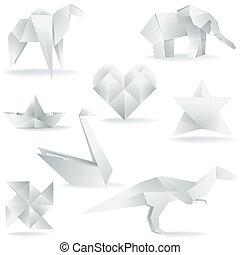 origami, schöpfungen, verschieden