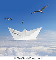 origami, scheepje, zwevend, in, wolken