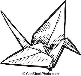 origami, schizzo, uccello