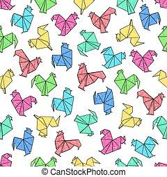 origami, seamless, おんどり