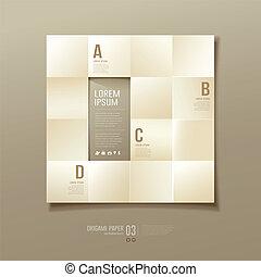 Origami sepia paper cuts square