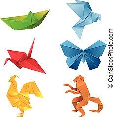 origami, set, dieren