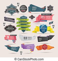 origami, set, etiketten, retro, banieren, linten