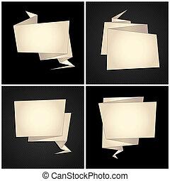 Origami set, folded paper, speech