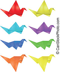 origami, set, uccello