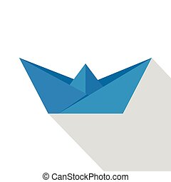 Origami ship icon, flat style