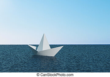 Origami ship on blue water. Leadership and boat concept. 3D Rendering