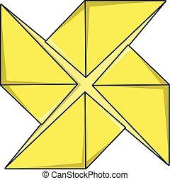 Origami shuriken icon, cartoon style - Origami shuriken...