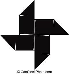 Origami shuriken icon, simple black style - Origami shuriken...