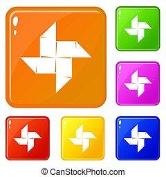 Origami shuriken icons set color