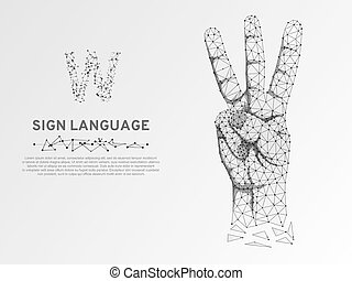 Origami Sign language V letter, hand three fingers pointing up gesture, Polygonal low poly. Deaf communication Vector