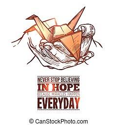 origami, simbólico, papel, dobrado, guindaste, doodle