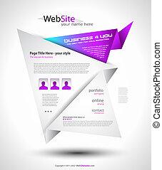 origami, sitio web, -, elegante, diseño