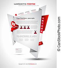 origami, sitio web, -, elegante, diseño, para, empresa /...