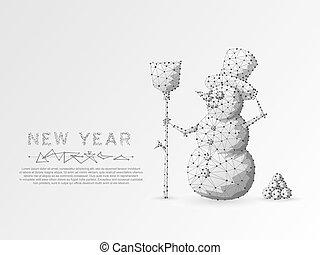origami, snowman., polygonal, espacio, bajo, poly, con, de conexión, puntos, y, lines., vacaciones invierno, snowman, con, un, escoba, wireframe, concept., conexión, structure., vector, blanco, plano de fondo