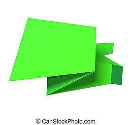 Origami speech bubble - Green origami speech bubble