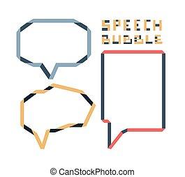 Origami speech bubble set, vector illustration
