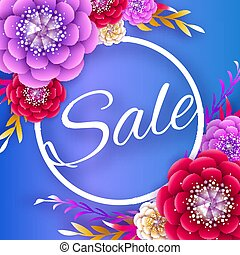 Origami Spring Sale Flowers Banner. Paper cut Floral card. Spring blossom. Happy Womens Day. 8 March. Text. Seasonal holiday on blue. Trendy decor. Spring Sale Banner, Poster, Flyer, voucher discount.