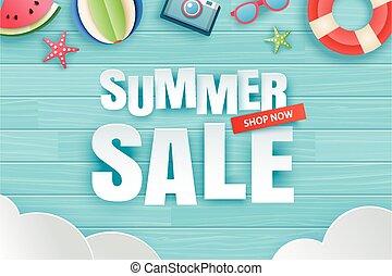 origami, sprzedaż, wektor, drewniany, papier, sunglasses., arbuz, ilustracja, tło., błękitny, style., sztuka, kunszt, lato, ozdoba