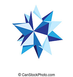 Origami star - Multipoint origami star in blue tones,...