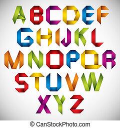 origami, stijl, lettertype, kleurrijke, letters.