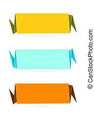 origami, stijl, set, etiket