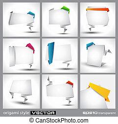 origami, stil, papper, panel, för, annonsering, eller,...