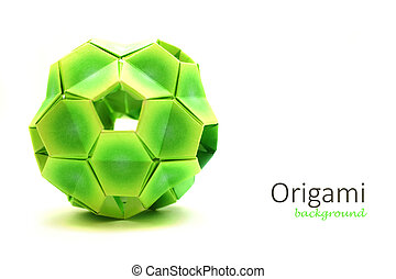Origami complex ball isolated on white.