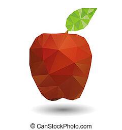 origami, styl, appel, rood, geometrisch