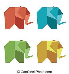 origami, style, éléphant