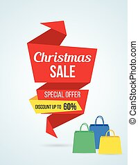 Origami style Christmas shopping sale banner design