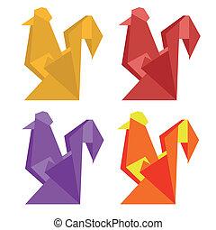 origami, style, coq
