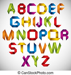 Origami style font with colorful letters.