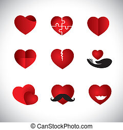 origami style heart icons collection set - concept vector graphi